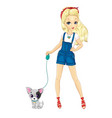Blonde Girl Walking With Dog vector image