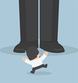 Businessman scared with giant feet vector image