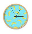 clock with banana pattern vector image