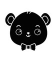 cute bear teddy head kawaii character vector image