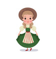 little girl wearing traditional costume of vector image