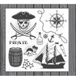Set of vintage pirate elements vector image