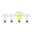Creative light bulb symbol with gear sign and vector image