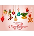 Christmas holiday greeting card with ornaments vector image