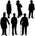 Gentleman and lady silhouettes vector image