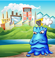 An angry fat blue monster in the city vector image vector image