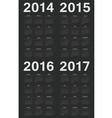 Set of black european 2014-2017 year calendars vector image