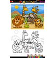 cartoon wild animals coloring page vector image vector image