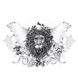 vintage emblem with lion and wings vector image vector image