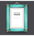 Old Wooden Frame with Cyan Paint vector image