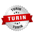 Turin round silver badge with red ribbon vector image
