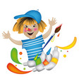 cheerful pencil with paints vector image