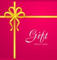 gift yellow narrow ribbon bow with four petals vector image