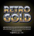 gradient retro styled gold alphabet vector image