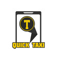 quick taxi mobile application sign in smartphone vector image