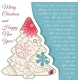 Card with christmas tree on paper and place for vector image
