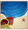Childrens toys on the background of the sea shore vector image