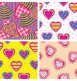 set heart pattern vector image