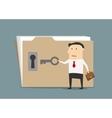 Businessman opening confident information folder vector image vector image