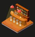 isometric pub bar restaurant cafe symbol alcohol vector image