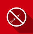no syringe sign no vaccine icon with long shadow vector image