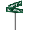 Self employed or employee street signs vector image vector image
