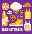 basketball hand drawn cartoon objects vector image vector image