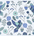 seamless pattern floral bird blue monochromatic vector image