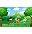 Four kids playing outdoor near the trees vector image