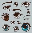 Anime style eyes set vector image