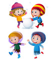 children playing with snow in winter vector image