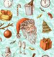 Christmas hand drawn texture with cute Santa deer vector image