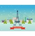Merry Christmas greeting card design Paris vector image