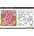 pig characters coloring book vector image vector image