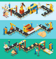 isometric industrial factory horizontal banners vector image