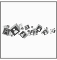 Abstract cubes with human icons on them vector image