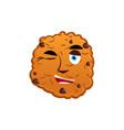 cookies winking emoji biscuit emotion happy food vector image