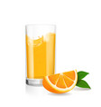 fresh orange and glass with juice realistic vector image