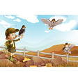 Girl and wild eagles flying vector image