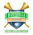 Label with vuvuzela for football sport competition vector image