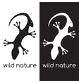 lizard and head of antelope negative space concept vector image
