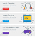 Music Service Video Service Game Development Line vector image