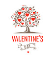 vintage tree with hearts vector image