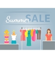 Women clothes collection in shop interior vector image