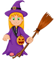 witch Halloween Cartoon with broom and pumpkin bag vector image
