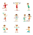 Kids Practicing Different Sports And Physical vector image