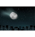 meteorite falls over the city vector image