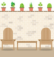 Wooden Garden Chairs With Table And Pot Plants vector image