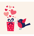 Bird with hearts vector image vector image