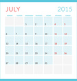 Calendar 2015 flat design template July Week vector image